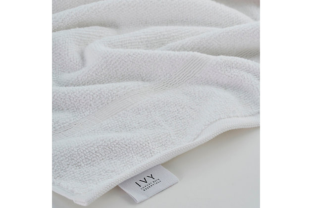 Ivy Luxury Rice Effect Turkish Aegean Cotton Towel Set of 16 (White), White, large