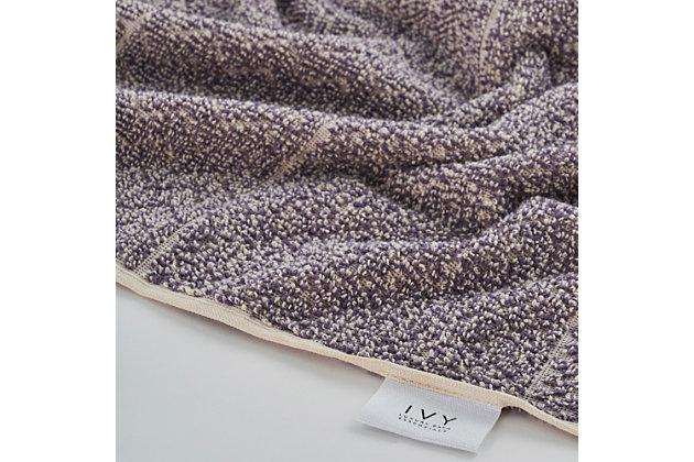 Ivy Luxury Ivy Hitit Bath Towel Pack of 2 (Heather/Ecru), , large