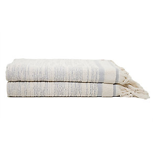 Ivy Luxury Ivy Maine Bath Towel Pack of 2 (Cloud/Ecru), Cloud/Ecru, large