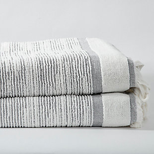 Ivy Luxury Ivy Maine Bath Towel Pack of 2 (Gray/White), Gray/White, large