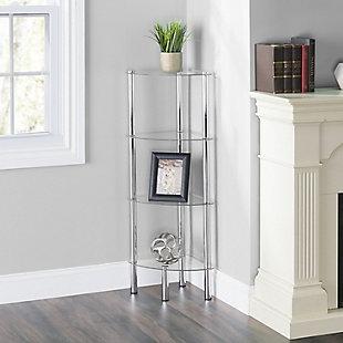 Multipurpose 4 Tier Arc Glass Corner Shelf, , rollover
