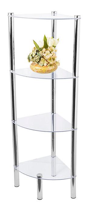 Multipurpose 4 Tier Arc Glass Corner Shelf, , large