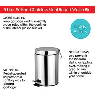 Contemporary  5 Liter Round Waste Bin, , large