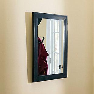 Contemporary Rectangle Wall Mirror, Black, rollover