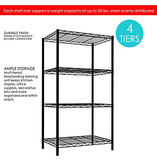Multipurpose Four Tier Multipurpose Wire Shelf, Black, rollover
