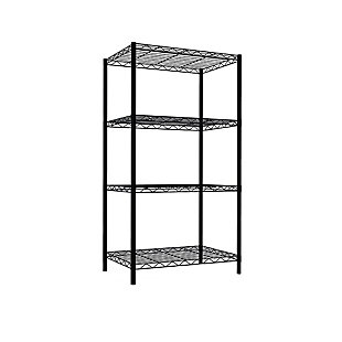Multipurpose Four Tier Multipurpose Wire Shelf, Black, large