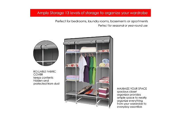 Contemporary Free Standing Storage Closet with Shelves, Gray, large