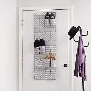 Over-the-Door Chevron 20 Pocket Over-the-Door Shoe Organizer, , rollover