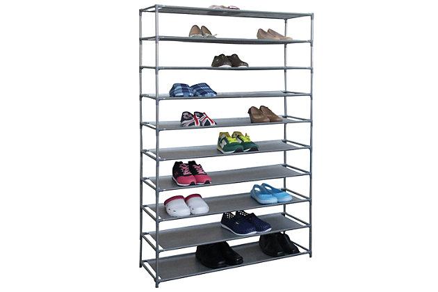 Contemporary 50 Pair Shoe Rack, , large
