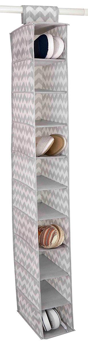 Contemporary Chevron 10 Shelf Closet Organizer, , large