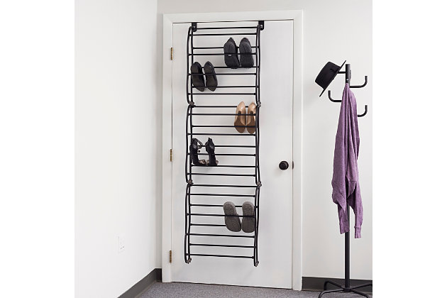 Over-the-Door 36 Pair Over the Door Shoe Rack, Black, large
