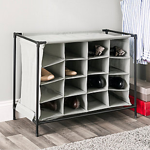 Contemporary 16 Pair Shoe Rack, , rollover