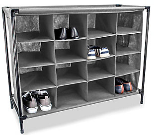 Contemporary 16 Pair Shoe Rack, , large