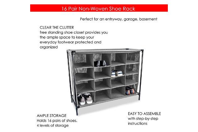 Contemporary 16 Pair Shoe Rack, , large