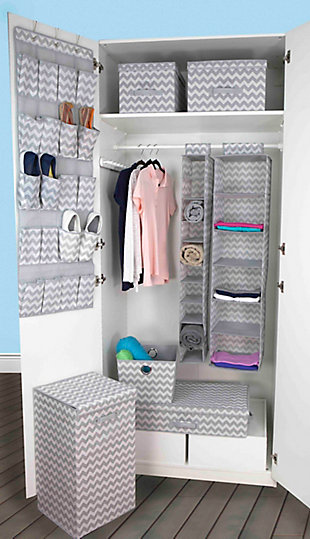 Contemporary Chevron 6 Shelf Closet Organizer, , rollover