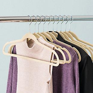 Contemporary Velvet Hangers (Set of 10), Ivory, large