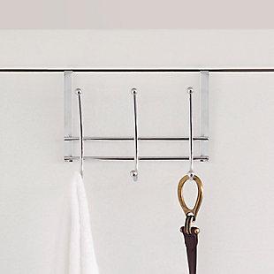 Over-the-Door Three Dual Hook Over the Door Hanging Rack, , large