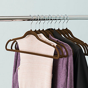 Contemporary Velvet Hangers (Set of 10), Chocolate Brown, large
