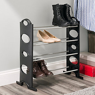 Contemporary Stackable 12 Pair Shoe Rack, , rollover