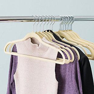 Contemporary Velvet Hangers (Set of 25), Ivory, large