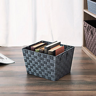 Contemporary Polyester Large Woven Strap Open Bin, Gray, rollover