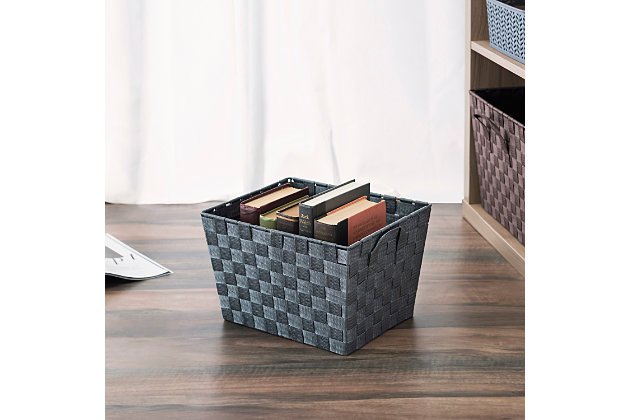 Contemporary Polyester Woven Strap Open Bin, , large