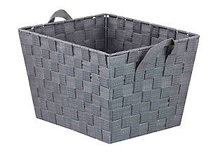 Contemporary Polyester Large Woven Strap Open Bin, Gray, large