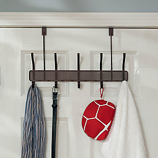 Over-the-Door Five Dual Hook Over the Door Hanging Rack, , rollover