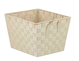 Contemporary Polyester Large Woven Strap Open Bin, Ivory, large