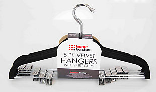 Contemporary Velvet Hanger with Clips (Set of 5), , large