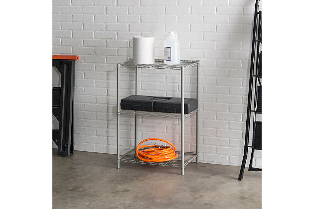 Multipurpose Three Tier Multipurpose Wire Shelf, Gray, large