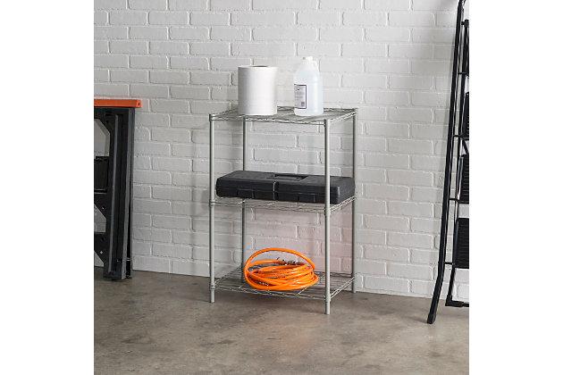 Multipurpose Three Tier Multipurpose Wire Shelf, Gray, large