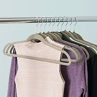 Contemporary Velvet Hangers (Set of 10), Ash Gray, rollover