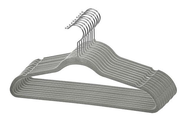 Contemporary Velvet Hangers (Set of 10), Ash Gray, large