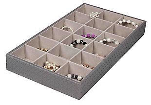 Contemporary Faux Leather 18  Compartment Jewlery Organizer, , large