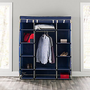 Contemporary Free Standing Storage Closet with Shelves, Navy, rollover