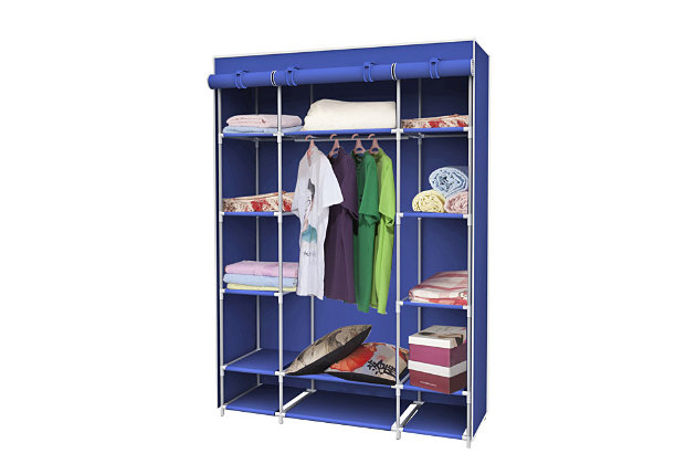 Contemporary Free Standing Storage Closet with Shelves, Navy, large