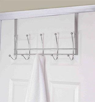 Over-the-Door Five Dual Hook Over the Door Hanging Rack, , rollover