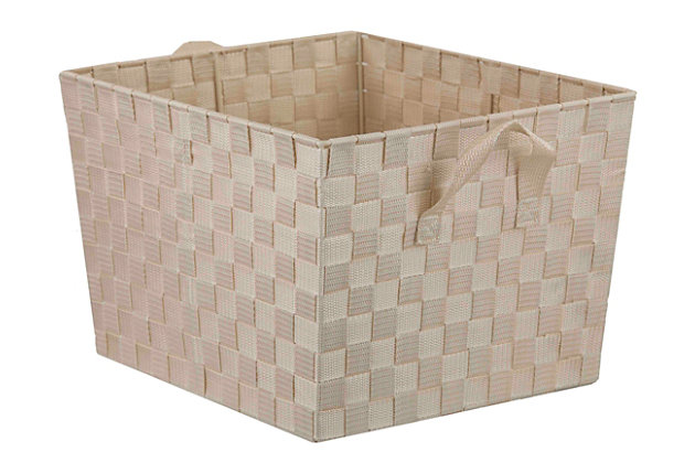 Contemporary Polyester Extra Large Woven Strap Open Bin, Ivory, large