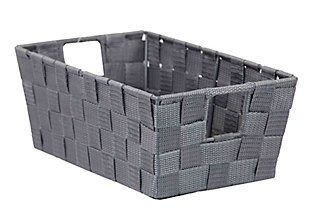 Contemporary Polyester Small Woven Strap Open Bin, Gray, large