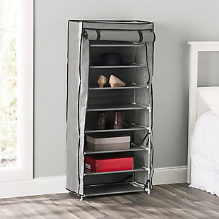 Contemporary Portable 24 Pair Shoe Rack, , rollover