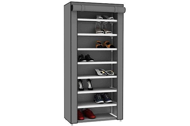 Contemporary Portable 24 Pair Shoe Rack, , large