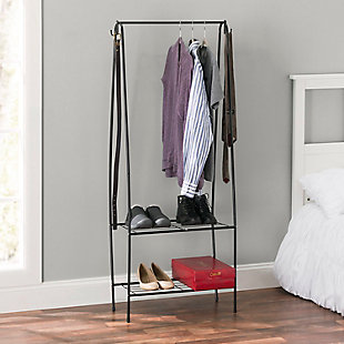 Contemporary Free Standing Garment Rack w/ Shelves, , rollover