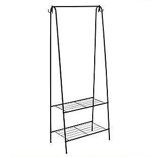 Contemporary Free Standing Garment Rack w/ Shelves, , large
