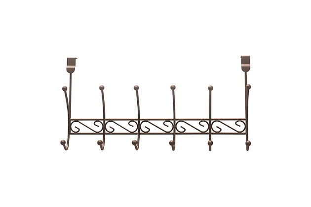 Over-the-Door Six Dual Hook Over the Door Hanging Rack, , large
