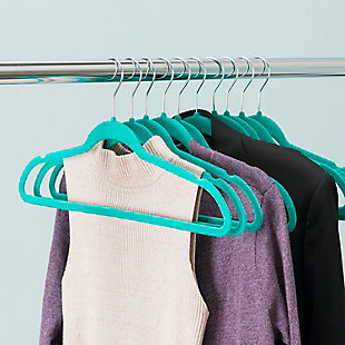 Contemporary Velvet Hangers (Set of 10), Turquoise, large