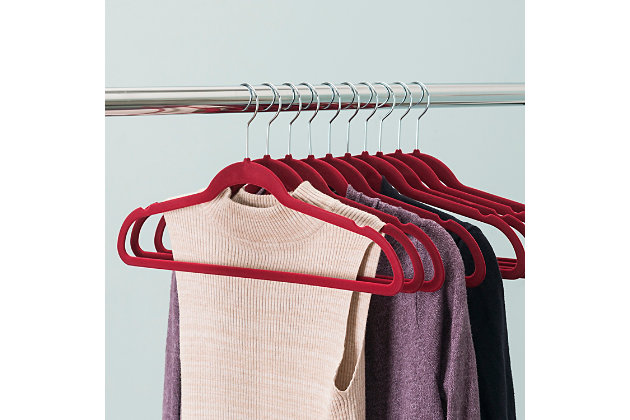 Contemporary Velvet Hangers (Set of 10), Burgundy, large