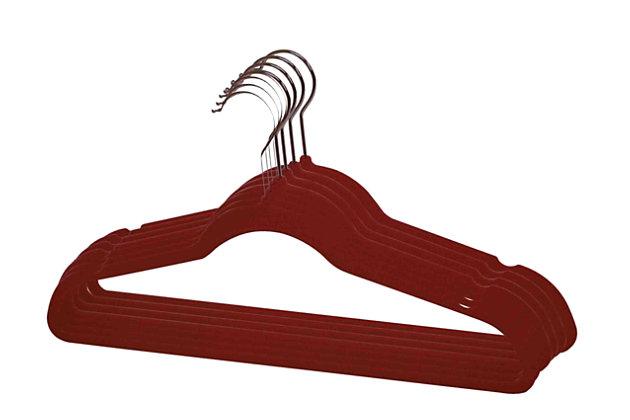 Contemporary Velvet Hangers (Set of 10), Burgundy, large