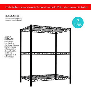 Multipurpose Three Tier Multipurpose Wire Shelf, Black, large