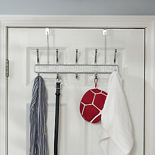 Over-the-Door Five Dual Hook Over the Door Hanging Rack, , large